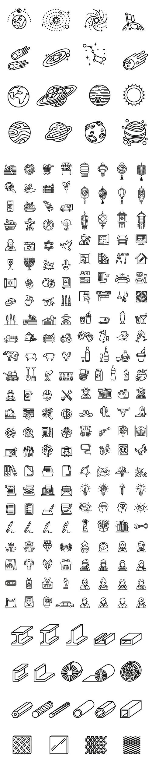 Modern Line Style Icons Pack