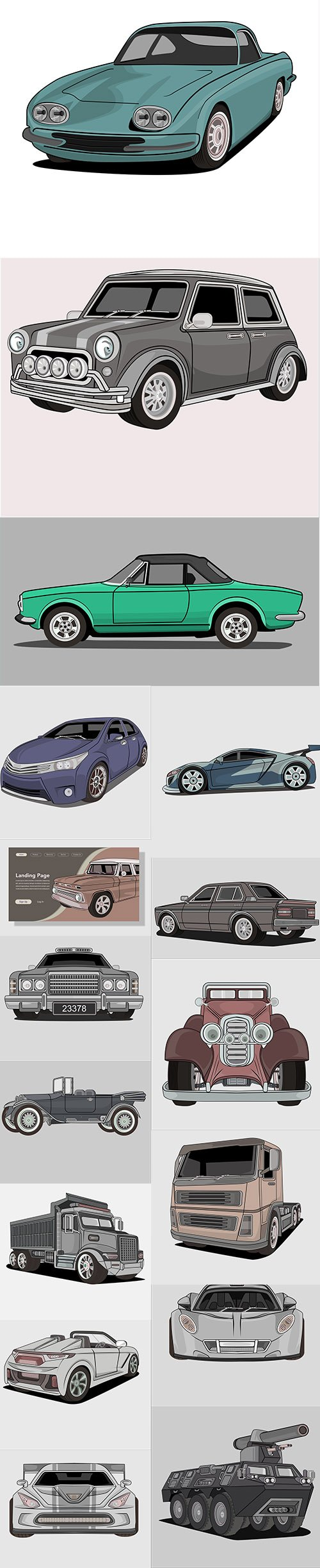 Vintage Car Premium Illustrations Set