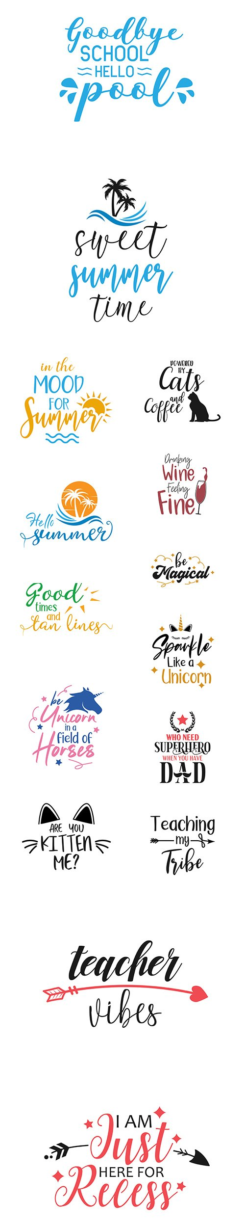 School, Summer, Unicorn and other Quote Lettering Typography Set