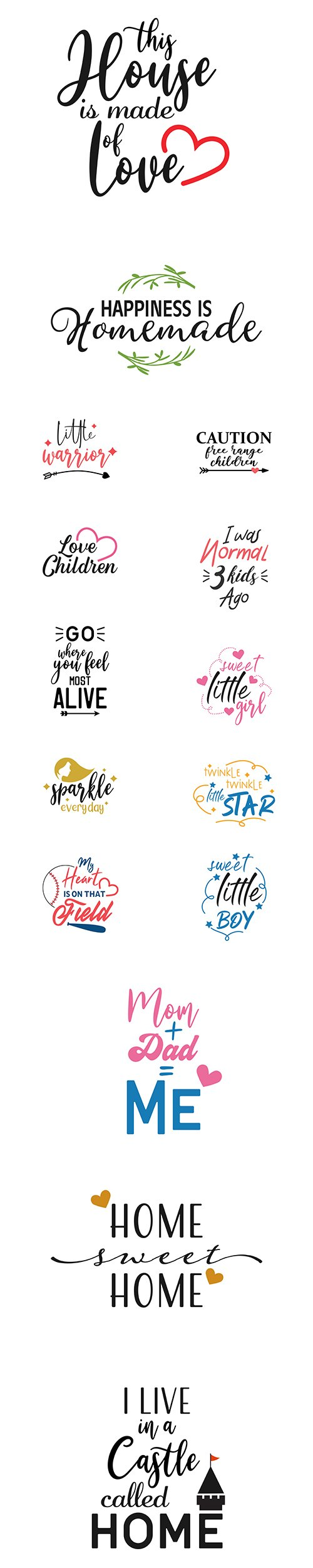 Home, Child and other Quote Lettering Typography Set