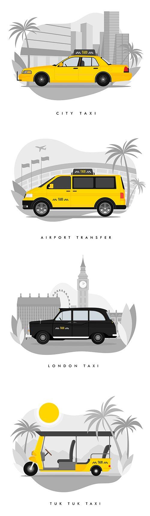 Taxi Services Flat Cartoon Illustrations