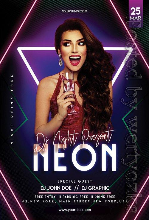 Neon Night - Premium flyer psd template
