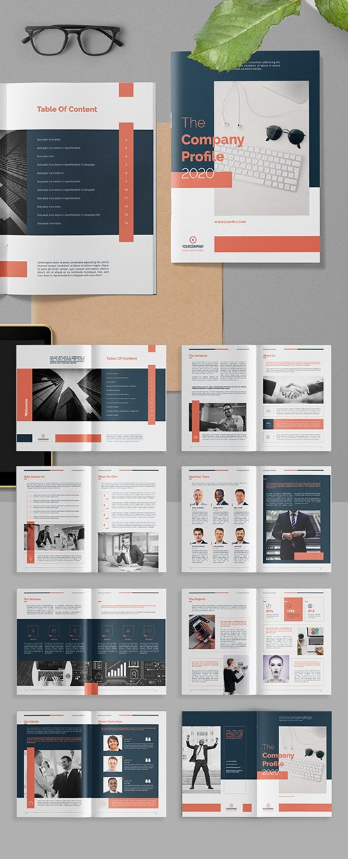 Company Profile Brochure Layout with Salmon Red Accents 313866149