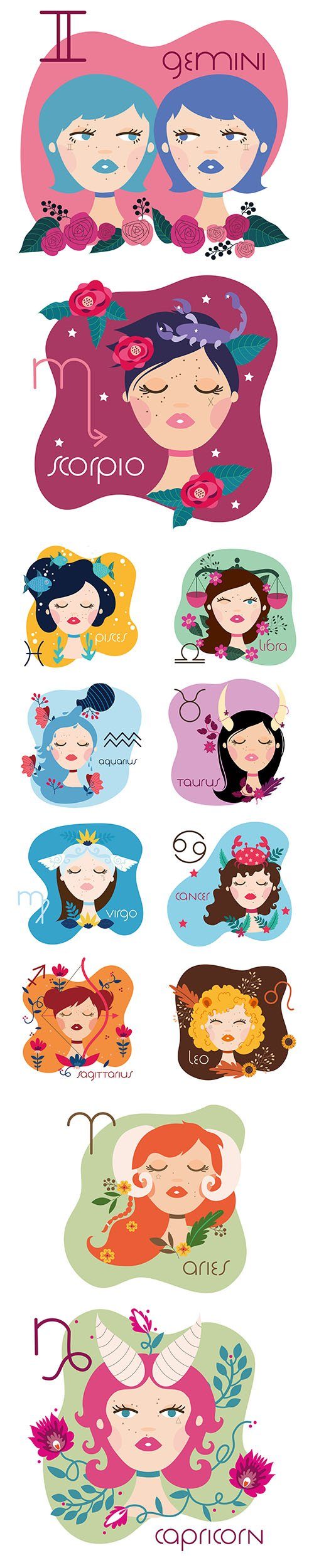 Zodiac Sign Illustration with Cartoon Womans