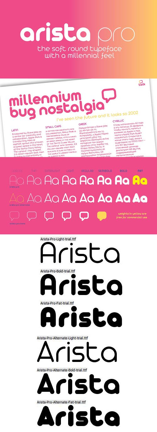 Arista Pro - Soft Round Typeface with a Millennial Feel [6-Weights]