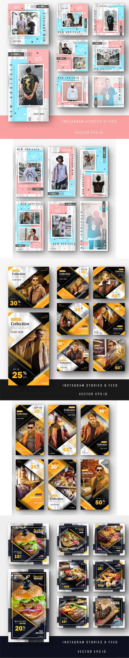 Instagram Stories & Feed Vector EPS Templates + Business Stationery