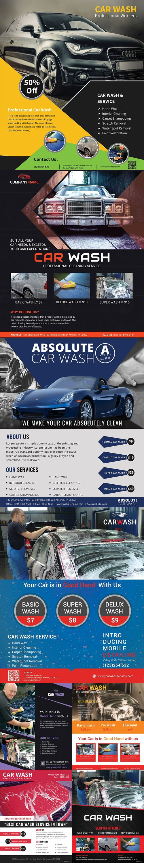 Car Wash Service Flyer Templates Collection