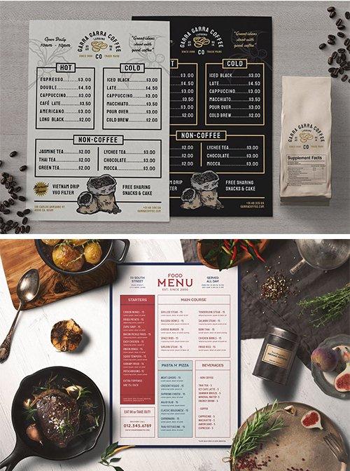 Coffee Menu and Modern Food Menu