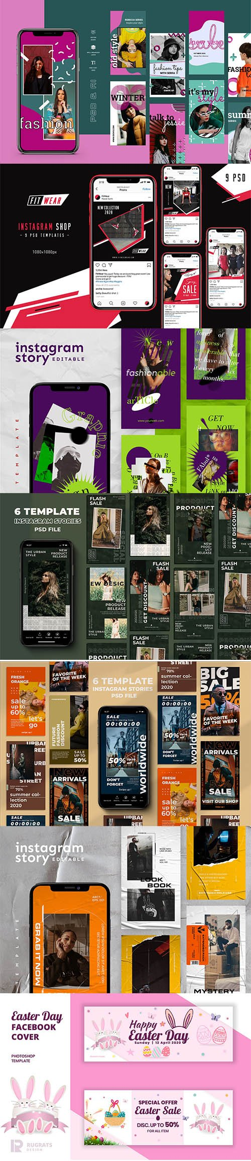 Instagram store Template Pack + Bonus Easter Facebook Cover