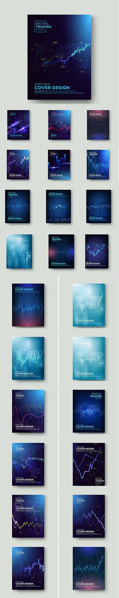 Cover Trading with Graphic Premium Illustrations Set