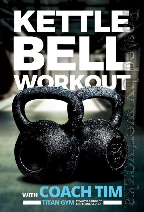 Kettlebell Workout Fitness - Premium flyer psd template