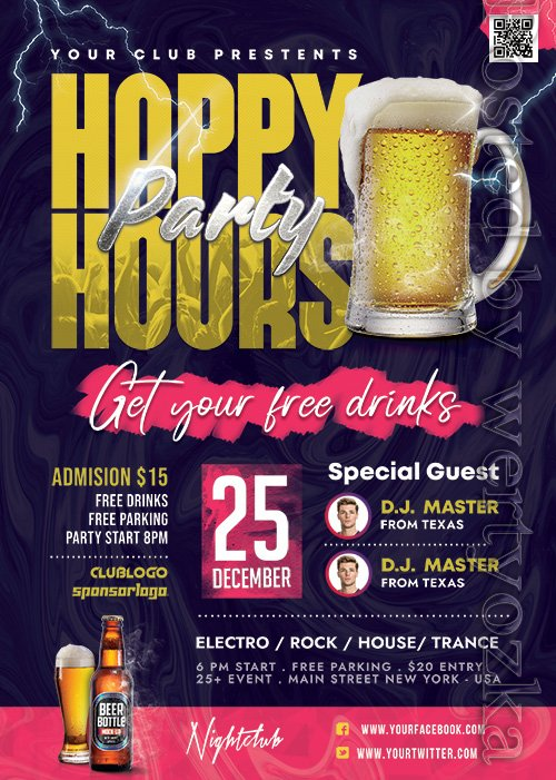 Happy Hour Club Party - Premium flyer psd template