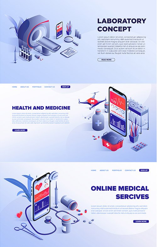 Online Medical Services Vector Template