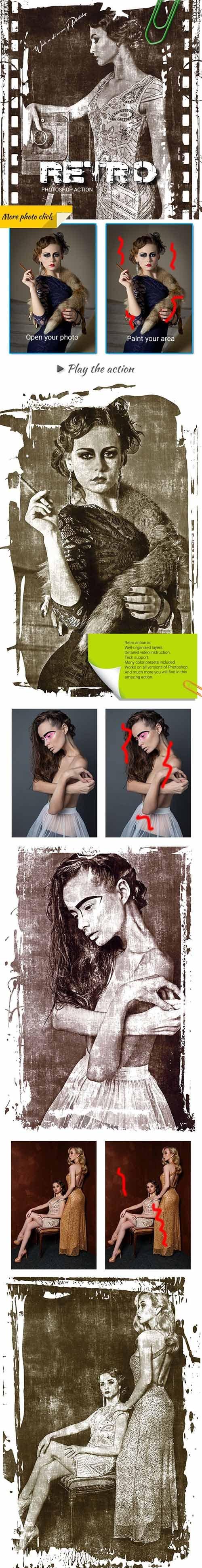 Retro Photoshop Action 25599015