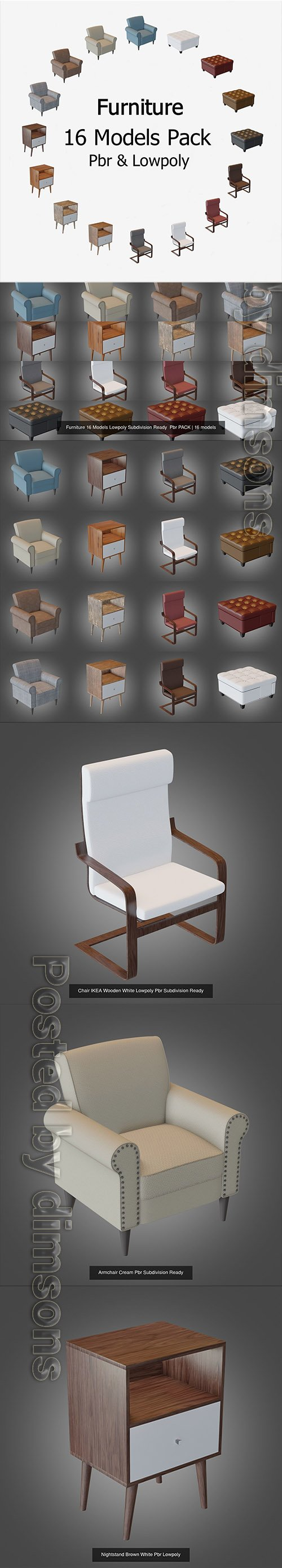Furniture 16 Models Lowpoly Subdivision Ready Pbr PACK 3D Model Collection