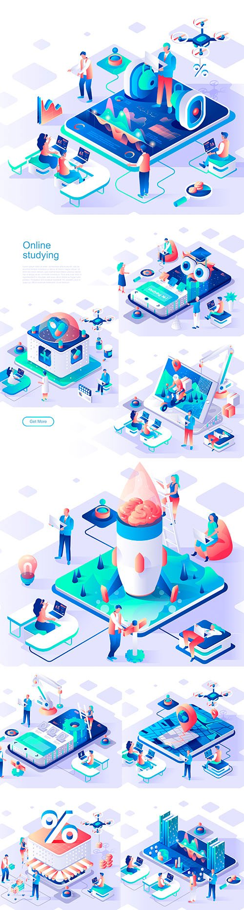 Internet technology and app isometric 3d flat design