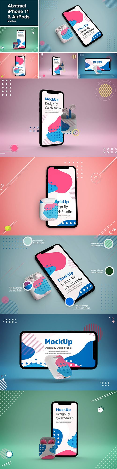 Abstract iPhone 11 & AirPods Mockup PSD