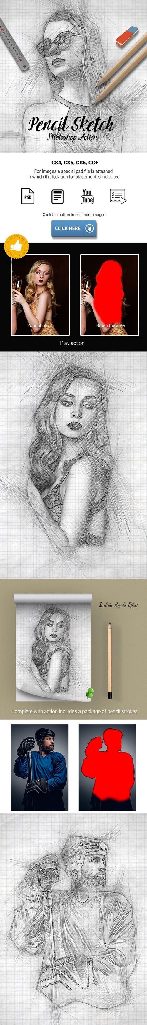 Pencil Sketch Photoshop Action 25638686