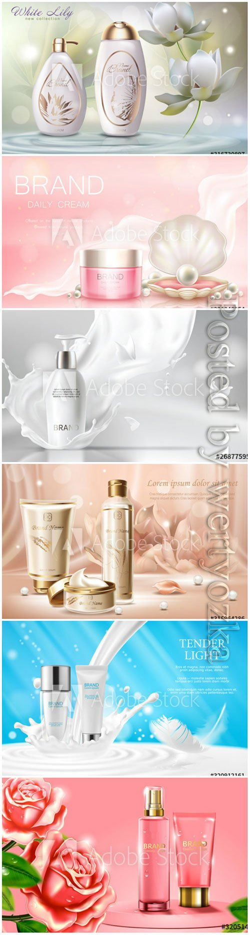 Cosmetics advertising banner vector template