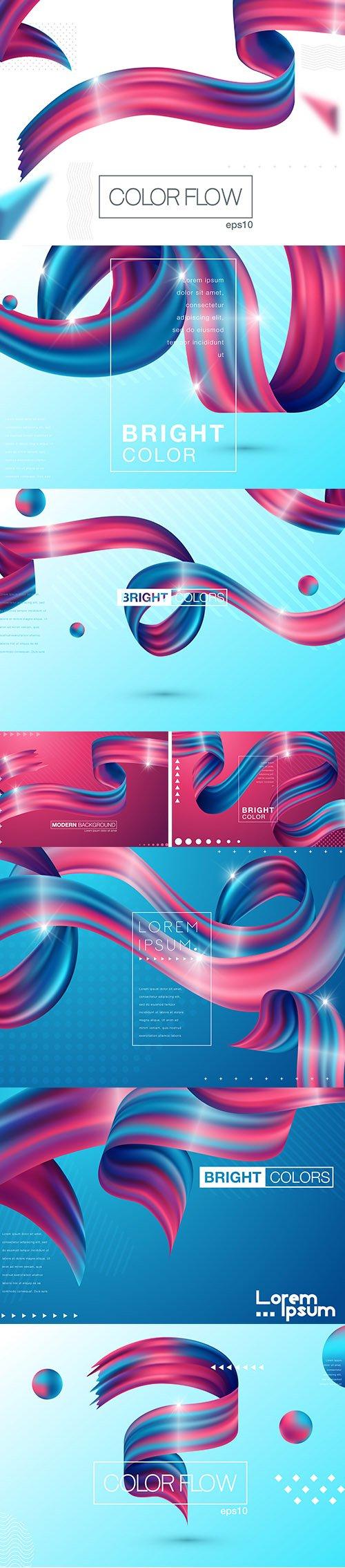 Colorful 3D Flow Shapes Liquid Wave Set