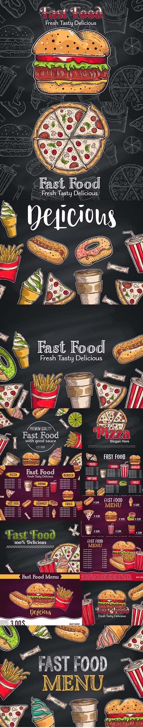 Vintage Fast Food Hand Drawn Illustrations
