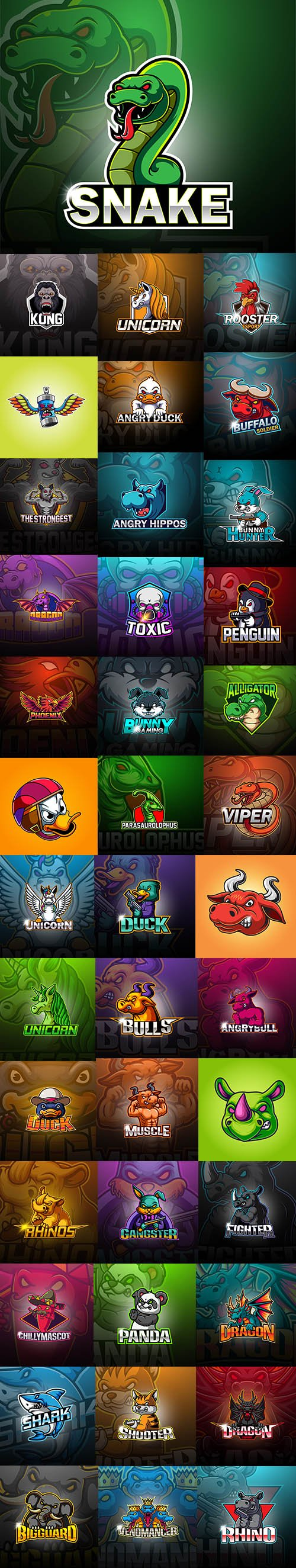 Esport Mascot Logo Template Set