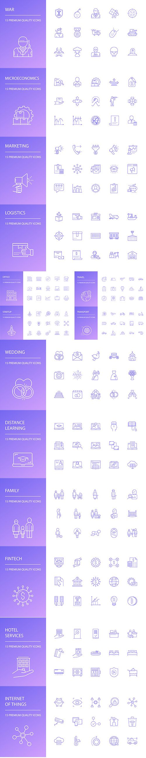 Family, Business, Travel and Logistics Line Icons