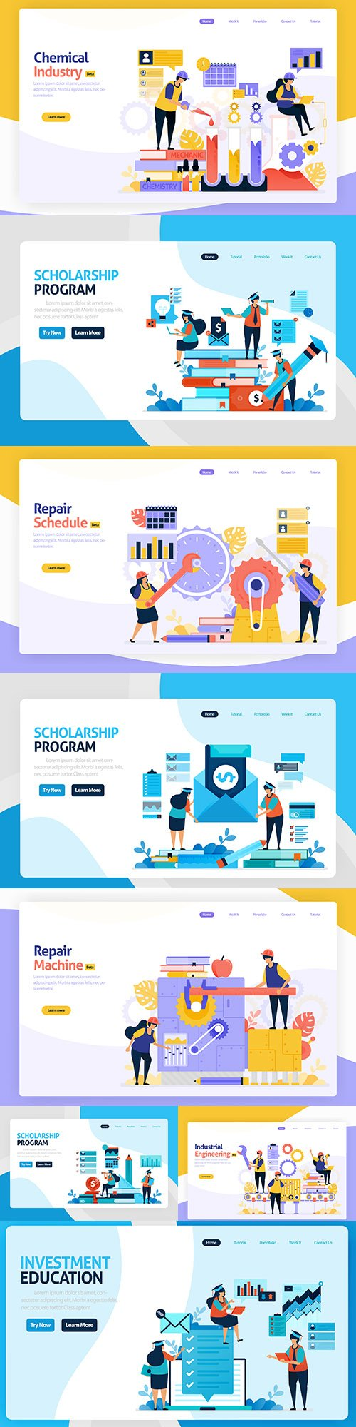 Industrial development and education landing page