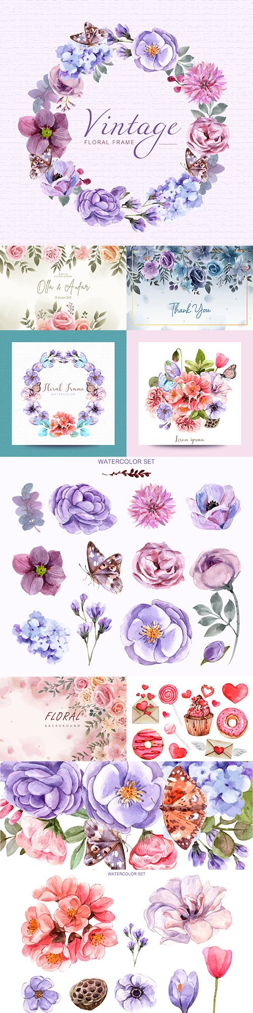 Watercolor flowers and compositions set for design