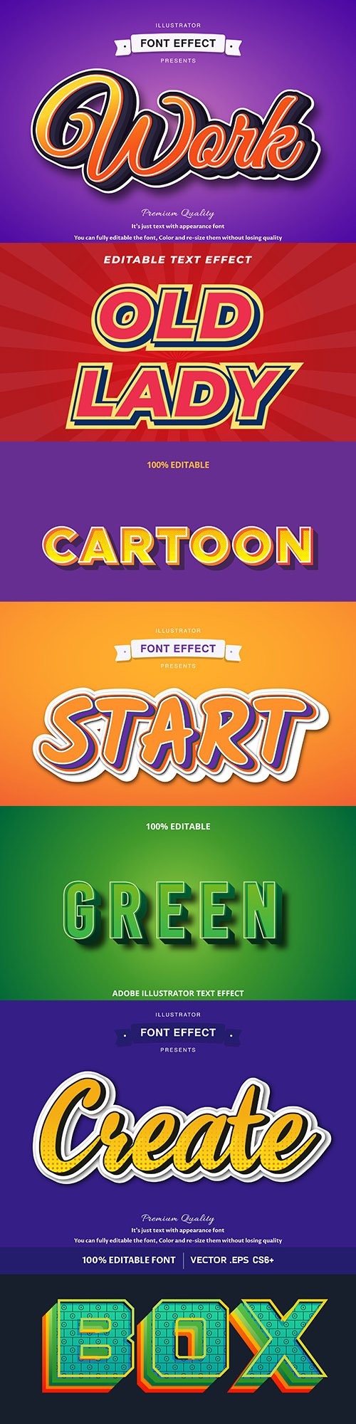 Editable font effect text collection illustration 18