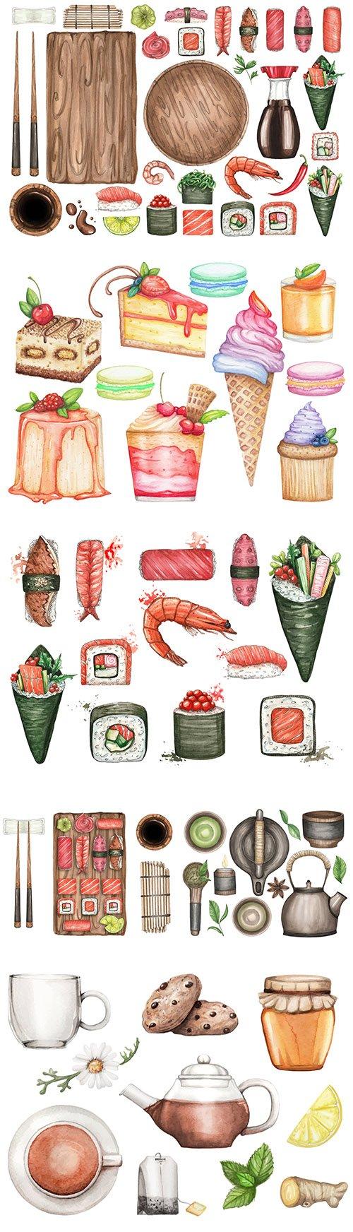 Sushi and tea dessert watercolor set illustrations