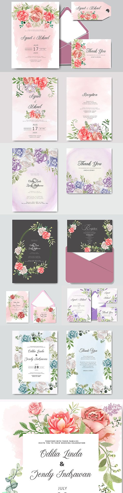 Wedding floral watercolor decorative invitations 23