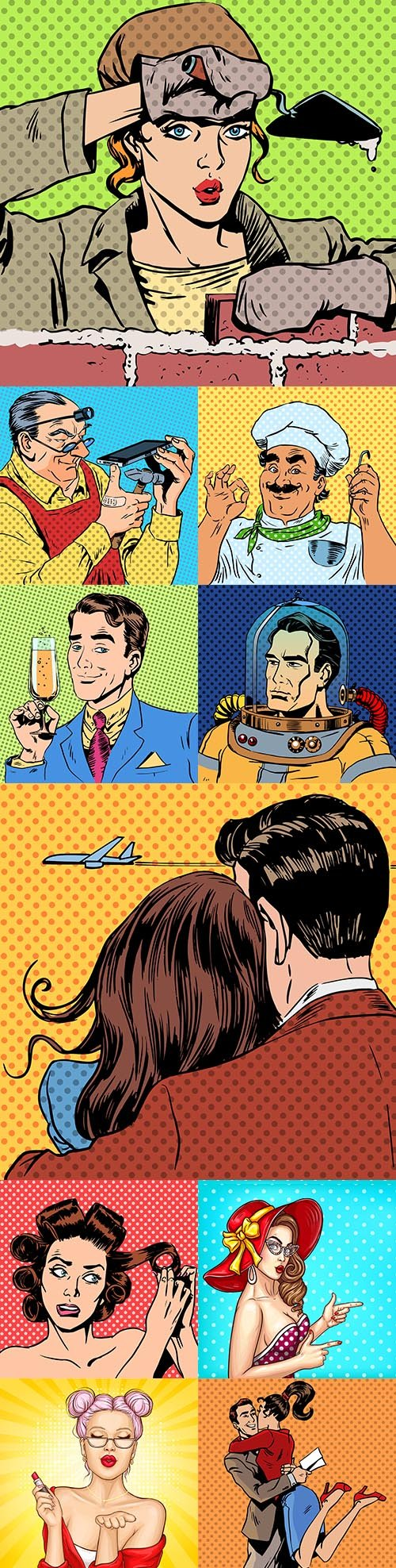 Man and woman comic illustrations in pop art style