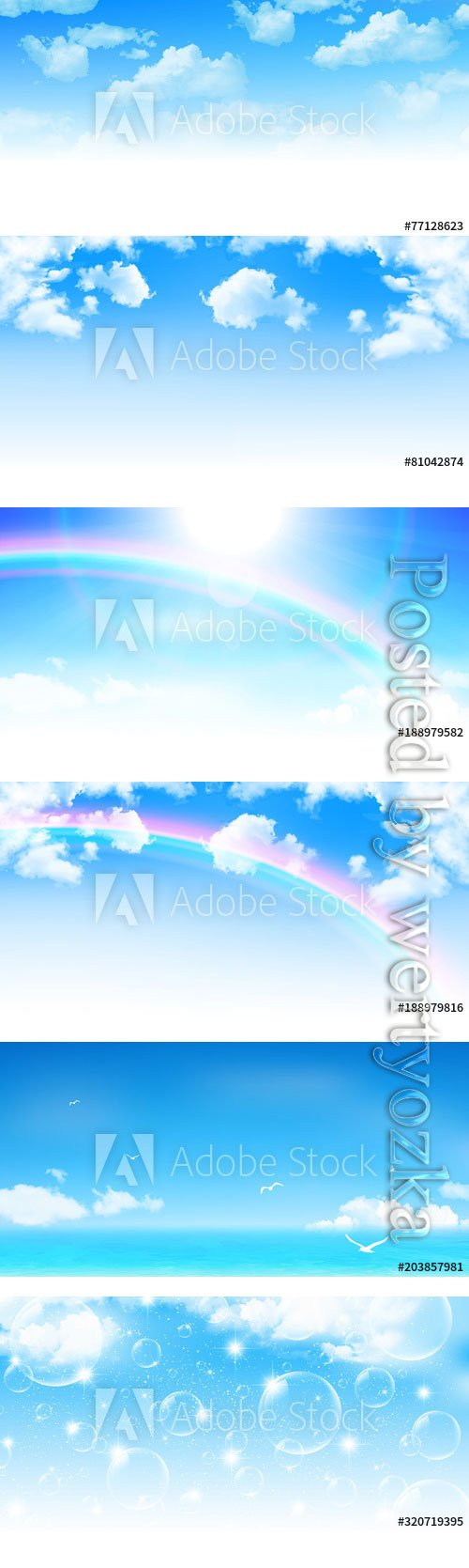 Blue sky with white clouds vector backgrounds
