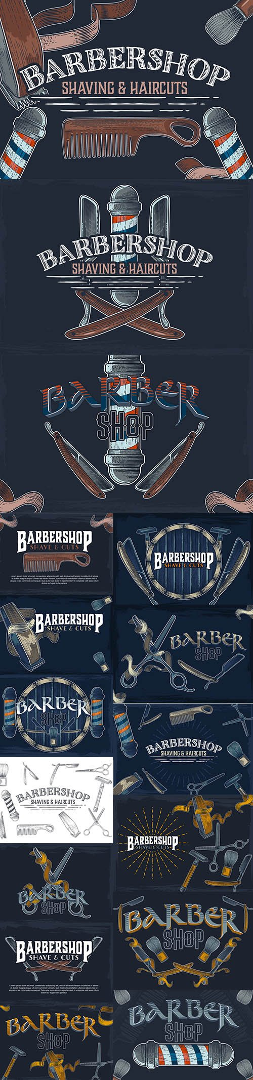 Hand-Drawn Vector Barber Shop Banners Illustrations