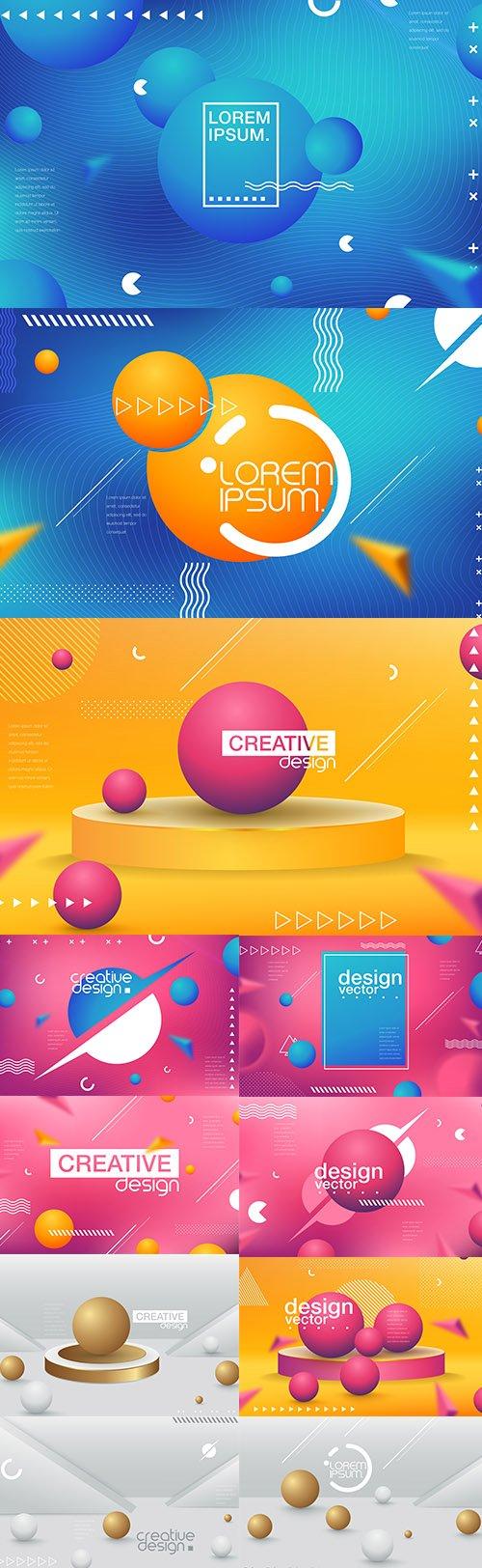 Multicolored Abstract Premium Illustrations Set