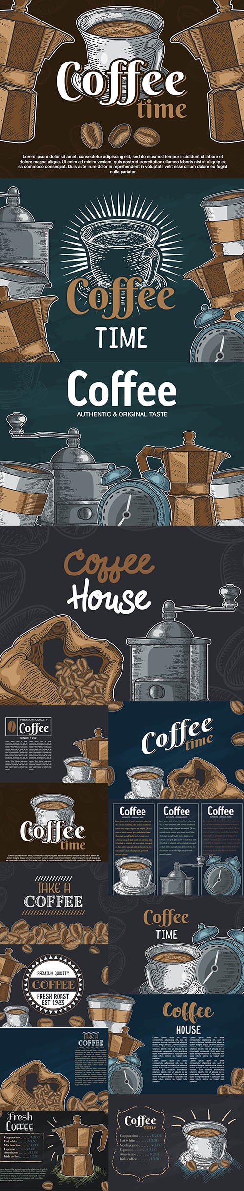 Hand-Drawn Sketch Illustration Coffee Design Vector