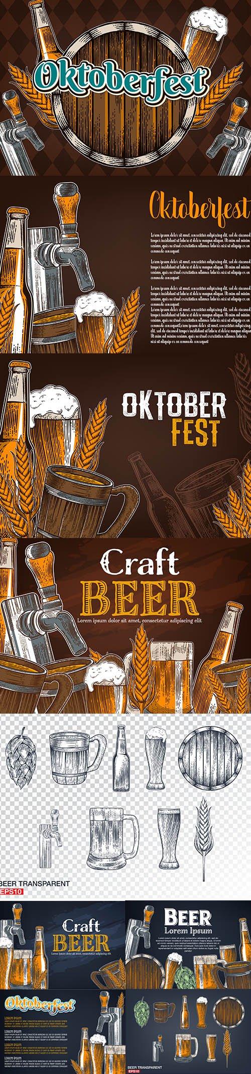 Vintage Brewery Beer Poster Premium Illustrations Set