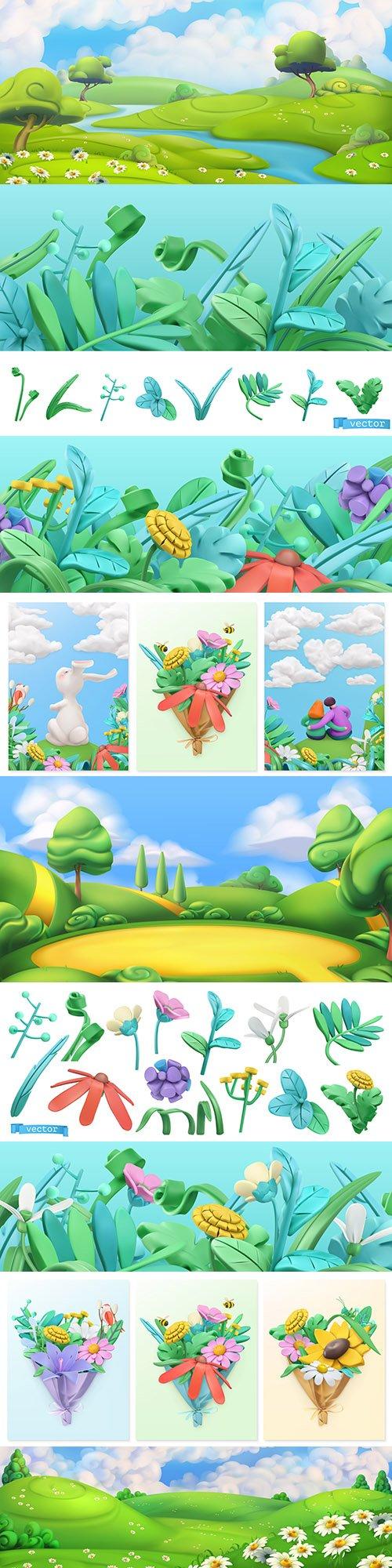 Landscape and spring flowers 3d illustrations