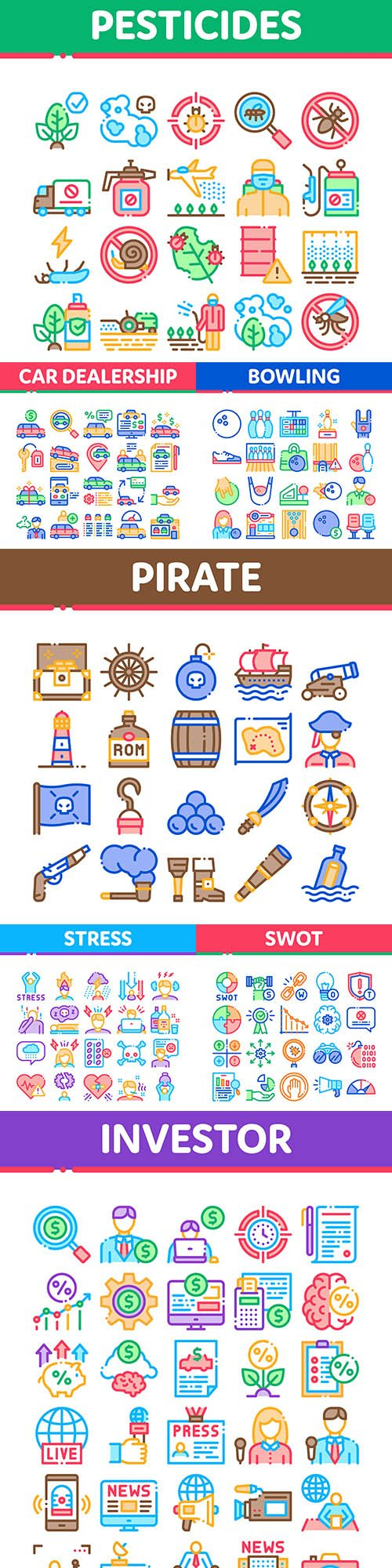 Set of icons design color line collection 3