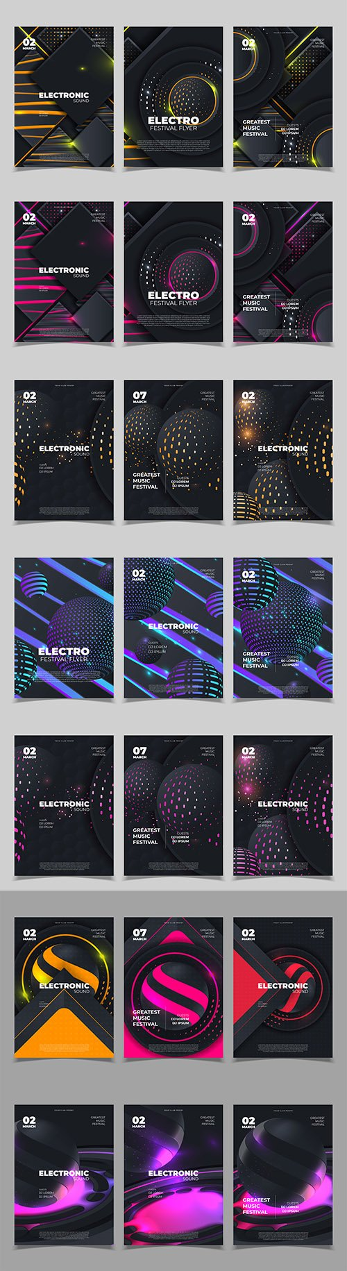 Electronic sound creative music festival design banner