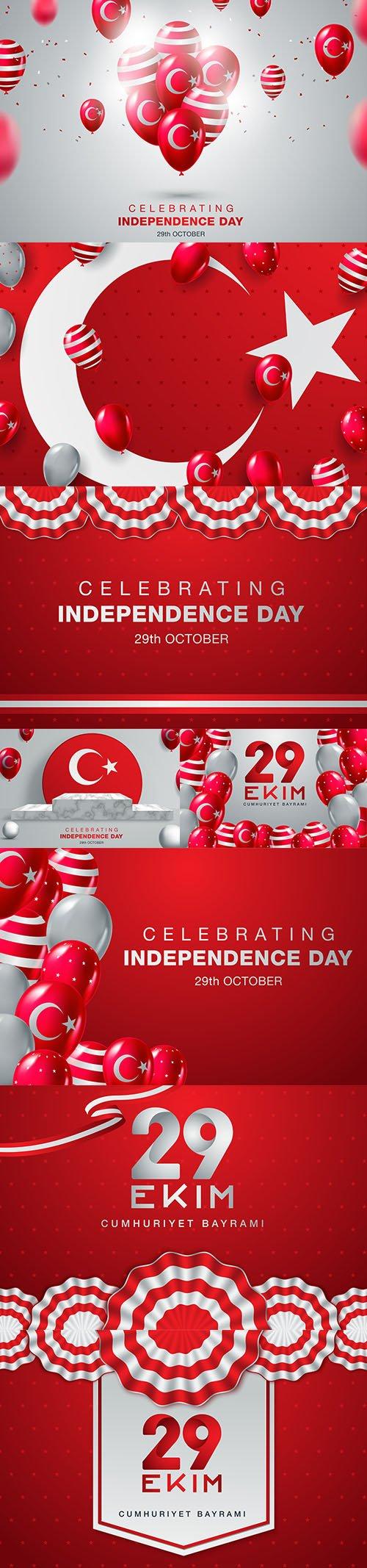 National Republic Day Turkey 29th October Set