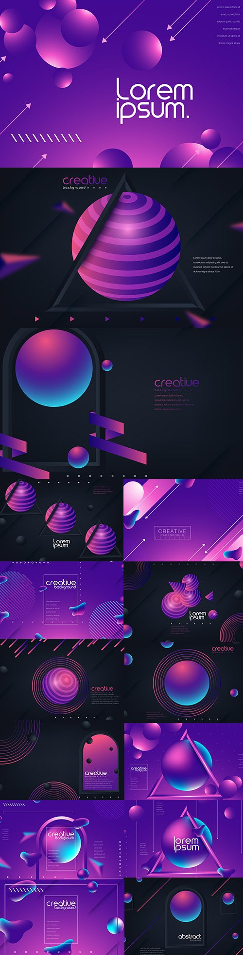 Trendy Bright Gradient Colors with Abstract Fluid Shapes