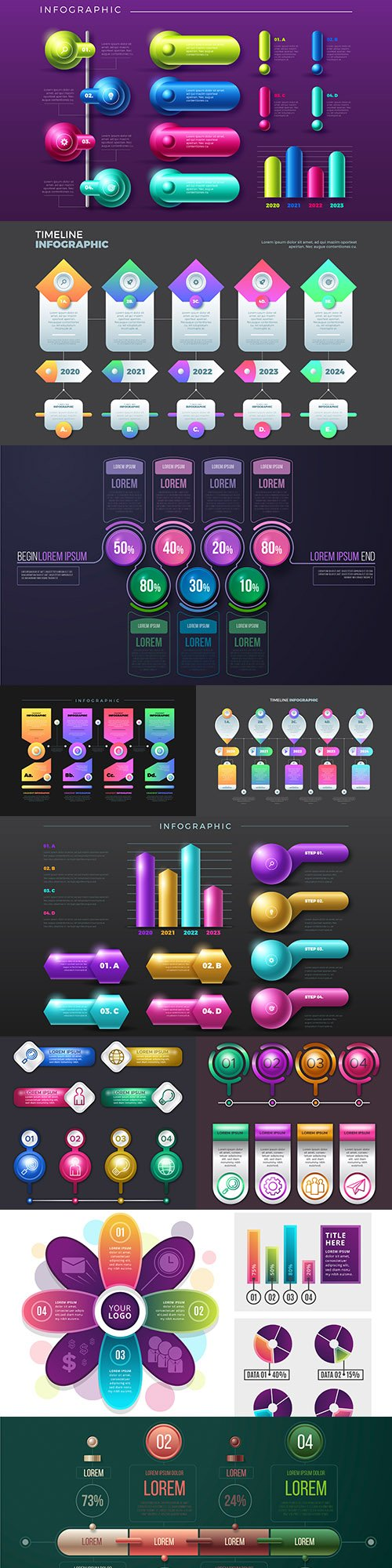 Business infographics options elements collection 139