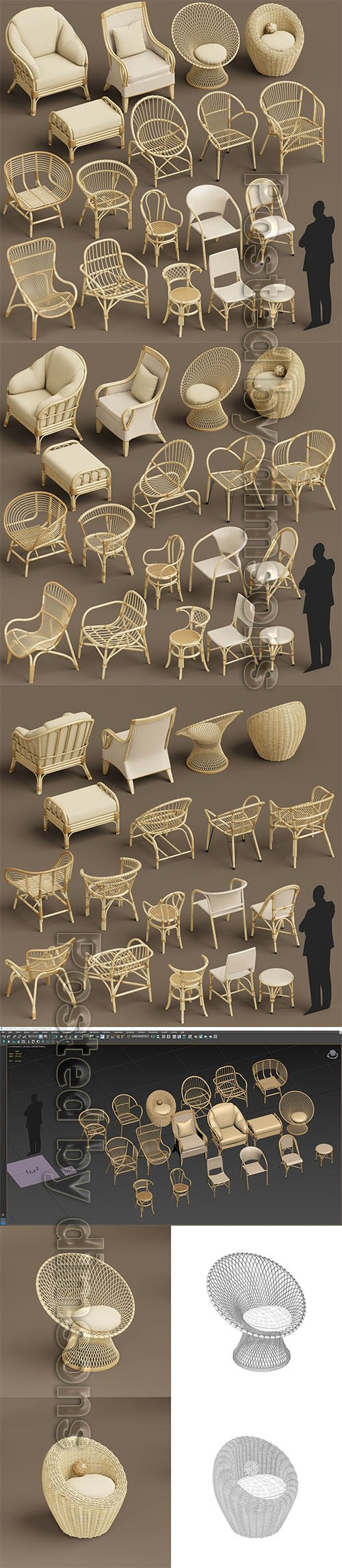 Wicker chair set A 3D model 3D model