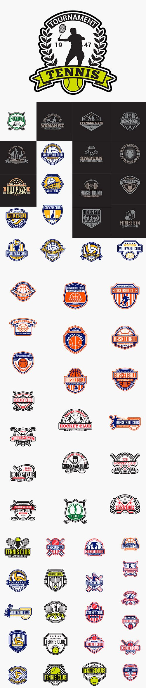 Volleyball, Tenis, Fitness, Golf, Hockey, Cricket and Basketball Badge Collections
