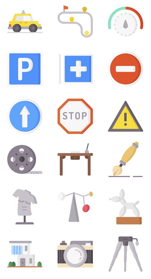 100 Driving School and Art Design Icons Set