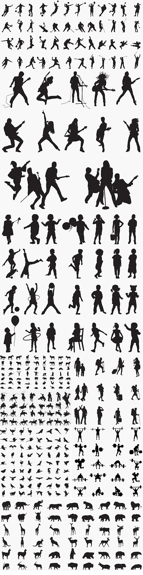 Silhouettes with People and Animals Vector