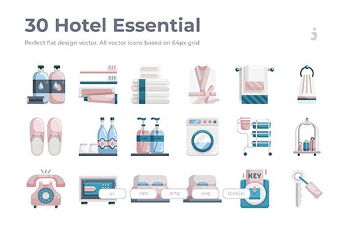30 Hotel Essential Icons - Flat
