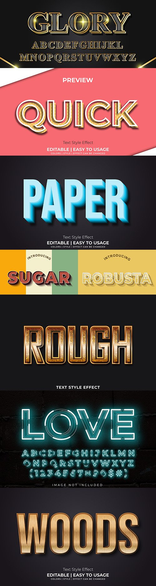 Editable font effect text collection illustration 22